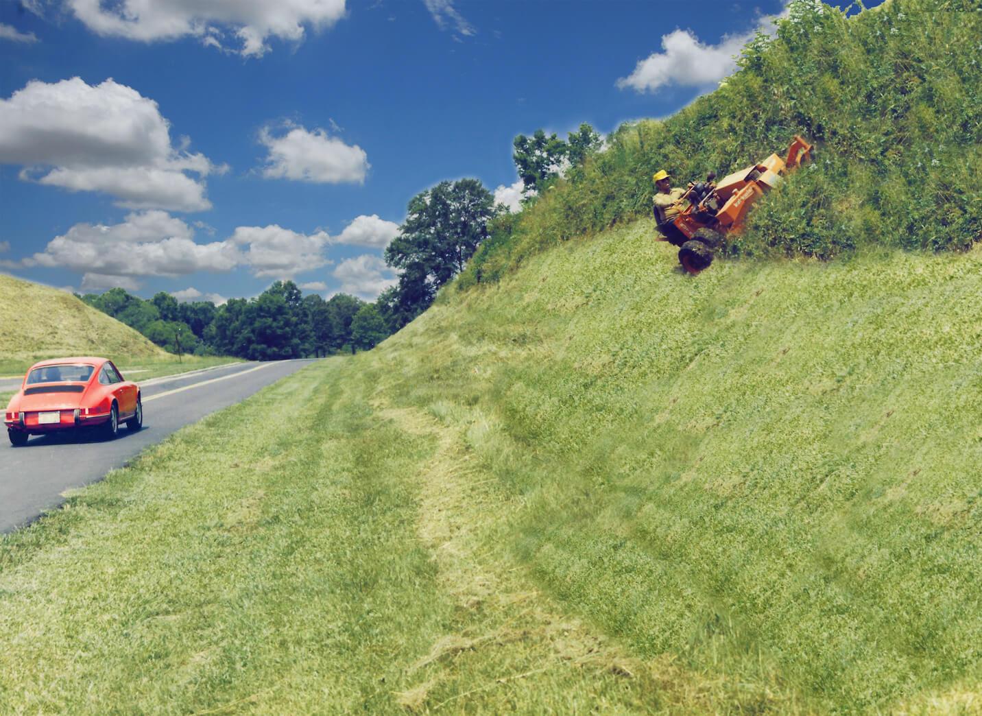 Lawn Mower On A Hill : Kut kwick slopemaster moweer yanmar diesel engine